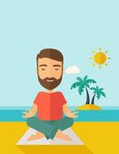 Man doing yoga in the beach — Stock Vector