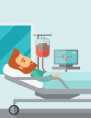 Patient in hospital bed being monitored — Stock Vector