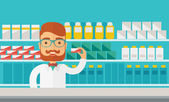 Young  pharmacy chemist man standing in drugstore. — Stock Vector