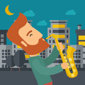 Saxophonist playing in the streets at night — Stock Vector