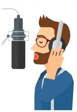 Singer making record.