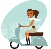 Scooter girl — Stock Vector