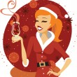 Santa girl with glass of mulled wine — Stock Vector #58981345