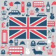 Vector graphic set of great britain symbols — Stock Vector #60266913