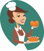 Woman holding pumpkin pie — Stock Vector