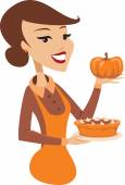 Young lady holding baked pumpkin pie — Stock Vector