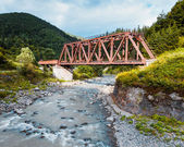 Railroad trestle over river, Carpathians — Stock Photo