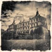 Retro stylized in black and white colors Pidhirtsi Castle, villa — Stock Photo