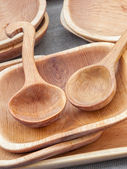 Wooden Bowls and ladles — Stock Photo