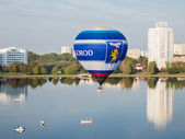 Minsk, Belarus. 13-September-2014: view of hot air baloon flying — Stock Photo