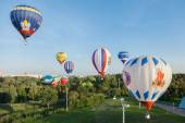 Minsk, Belarus. 12-September-2014: view of hot air baloon flying — Stock Photo