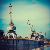 Working cranes for cargo at the shipyard docks in river port. — Stok fotoğraf