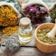 Healing herbs in hessian bags, mortar with chamomile and essenti — Stock Photo #63935751