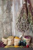 Healing herbs in hessian bags near old wall, herbal medicine. — Photo