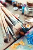 Vintage stylized photo of paintbrushes closeup, artist palette a — Stock Photo