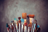Bunch of artist paintbrushes closeup — Stock Photo
