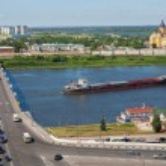 View of Nizhny Novgorod cityscape, bridge over river. Russia — Stock Photo #69533835