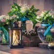 Still life with bouquets and candles — Stock Photo #70796681