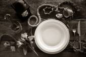 Table setting in retro style, top view. Black and white stylized — Stock Photo