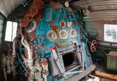 Fragment of engine room on old steam locomotive — Stock Photo