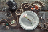 Table setting in retro style, top view. Retro stylized. — Stock Photo