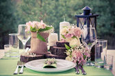 Wedding table setting in rustic style. — Stock Photo