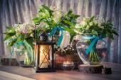 Still life with three wedding bouquets and candles, vintage styl — Stock Photo