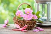 Basket with wild rose flowers and vintage lamp with kettle. — Stock Photo
