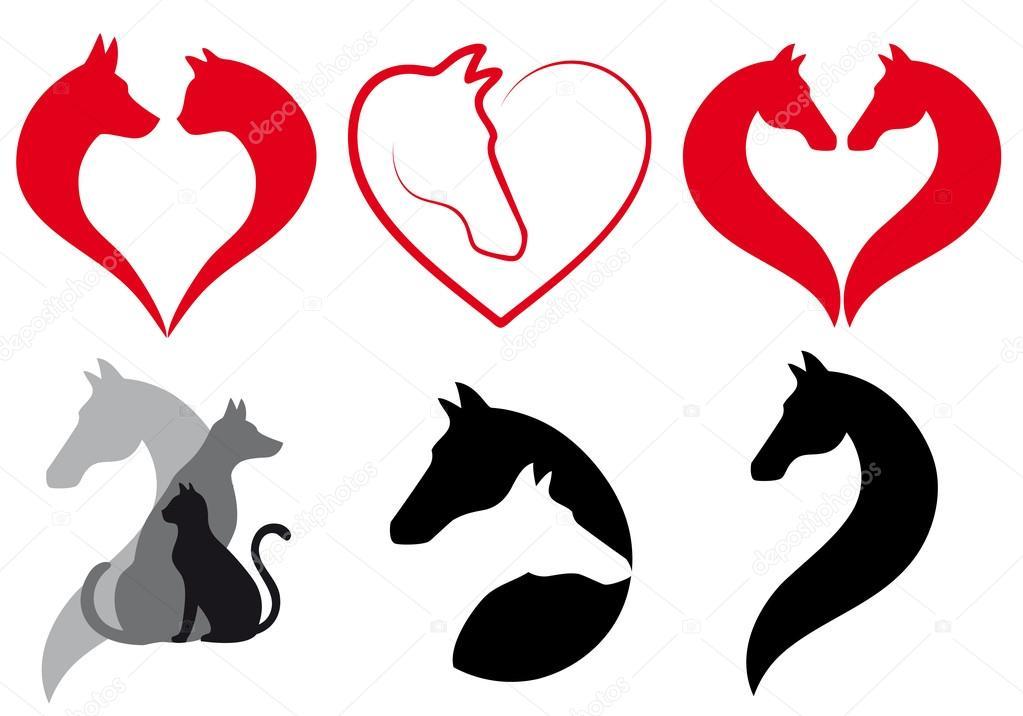Hund Katze Pferd Herz Vektor Satz Stockvektor