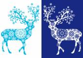 Blue chirstmas deer , vector set — Stock Vector