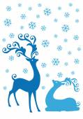 Christmas deers in snowfall, vector — Stock Vector