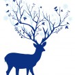 Blue Christmas deer, vector — Stock Vector #53770549