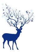 Blue Christmas deer, vector — Stock Vector