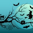 Halloween witch and bats, vector — Stock Vector #54048943