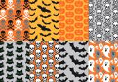 Halloween seamless patterns, vector — Stock Vector