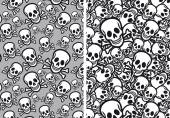 Skulls seamless patterns, vector — Stock Vector