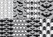 Skulls and bats, seamless pattern, vector — Stock Vector