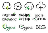 Organic cotton, vector set — Stock Vector