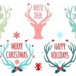 Christmas deer antlers, vector set — Vector de stock  #56570615
