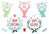 Christmas deer antlers, vector set — Stock Vector