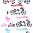Baby shower with tandem bicycle, vector set — Stock Vector #56847113