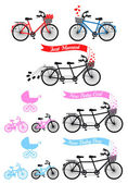 Baby shower with tandem bicycle, vector set — Stock Vector