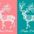 Christmas cards with deer, vector set — Stock Vector #58508713