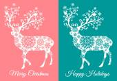 Christmas cards with deer, vector set — Stockvektor