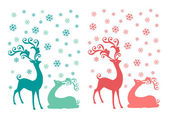 Christmas deer, vector set — Stock Vector