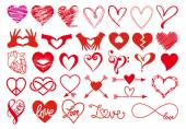 Heart designs, vector set — Stock Vector