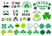St Patrick's day, clover set, vector — Stock Vector