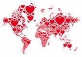 Love, world map with red hearts, vector — Stock Vector