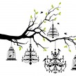 Tree with chandelier and birdcage, vector — Stock Vector #66393207