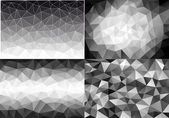 Black and white low poly backgrounds, vector set — Stock Vector